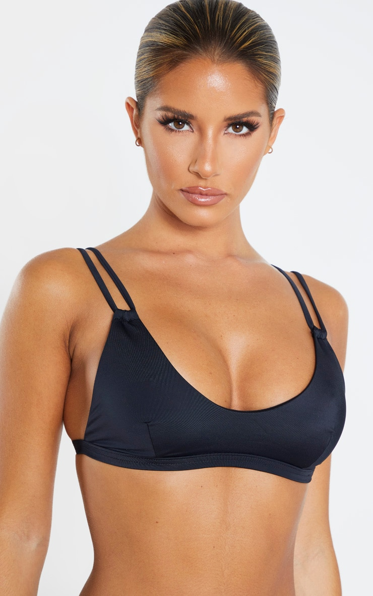 Black Recycled Fabric Mix & Match Double Strap Scoop Bikini Top 5