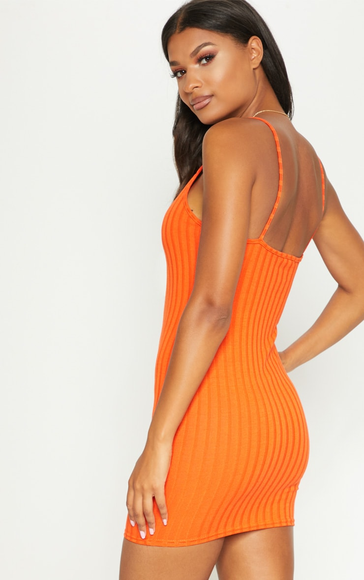 Orange Knitted rib dress 2