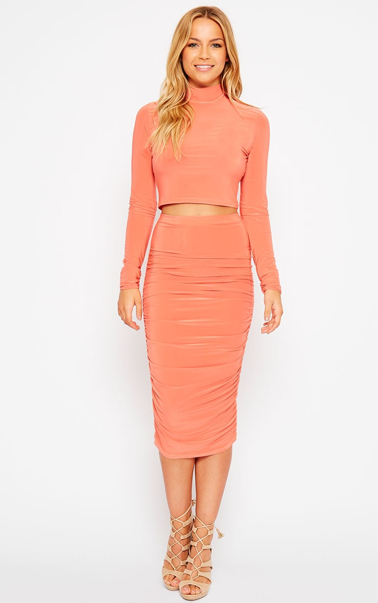 Saylor Orange Slinky Turtle Neck Crop Top 3