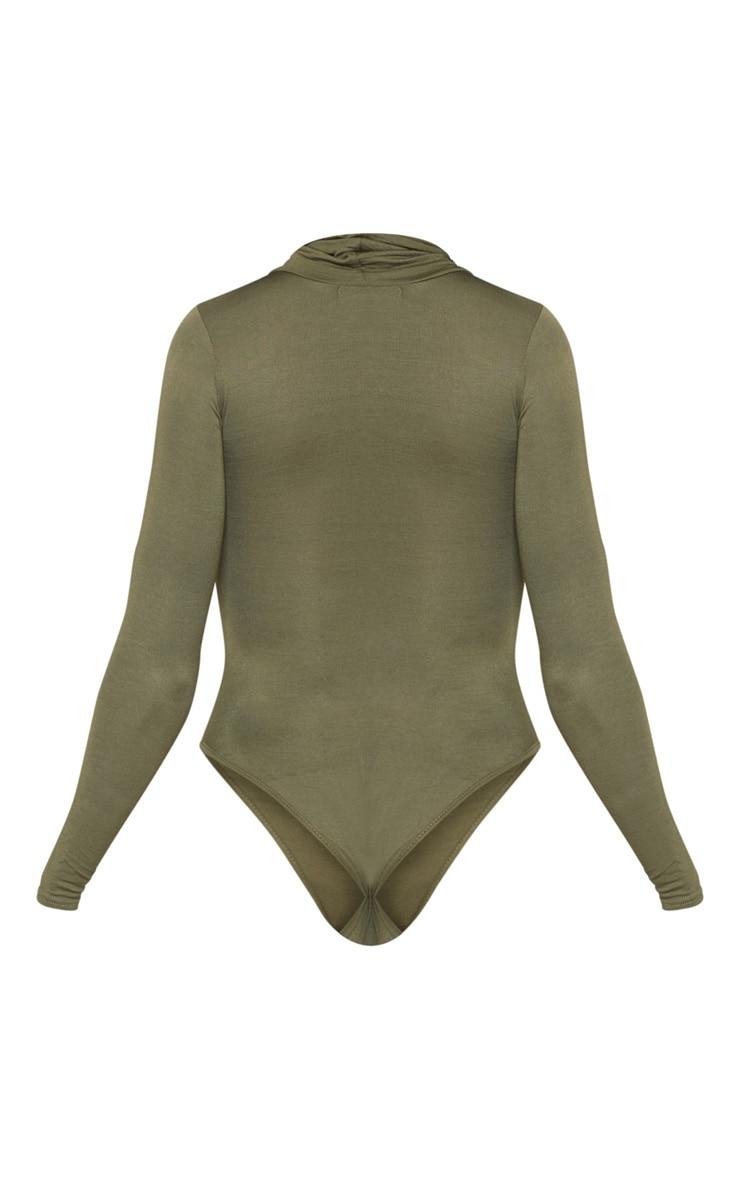 Khaki Roll Neck Long Sleeve Bodysuit 4
