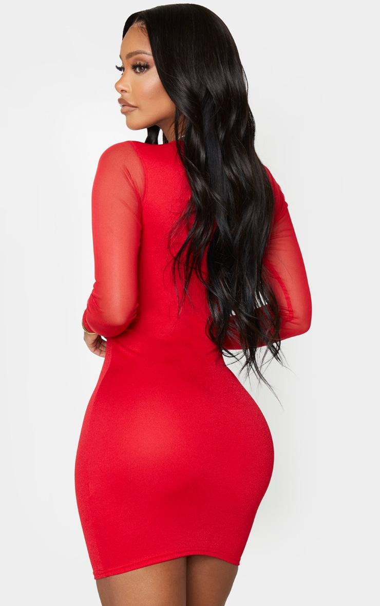 Shape Red Crepe Mesh Sleeve Bodycon Dress 2