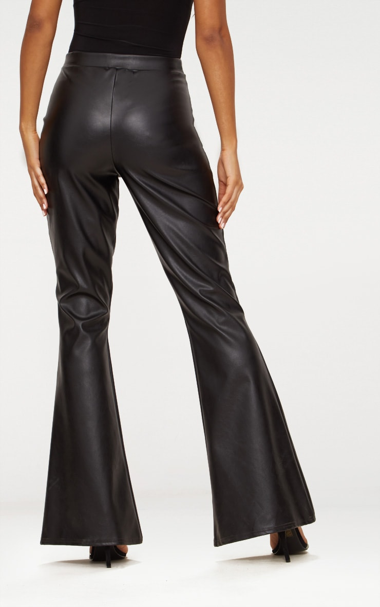 Black Faux Leather Flared Trousers 5