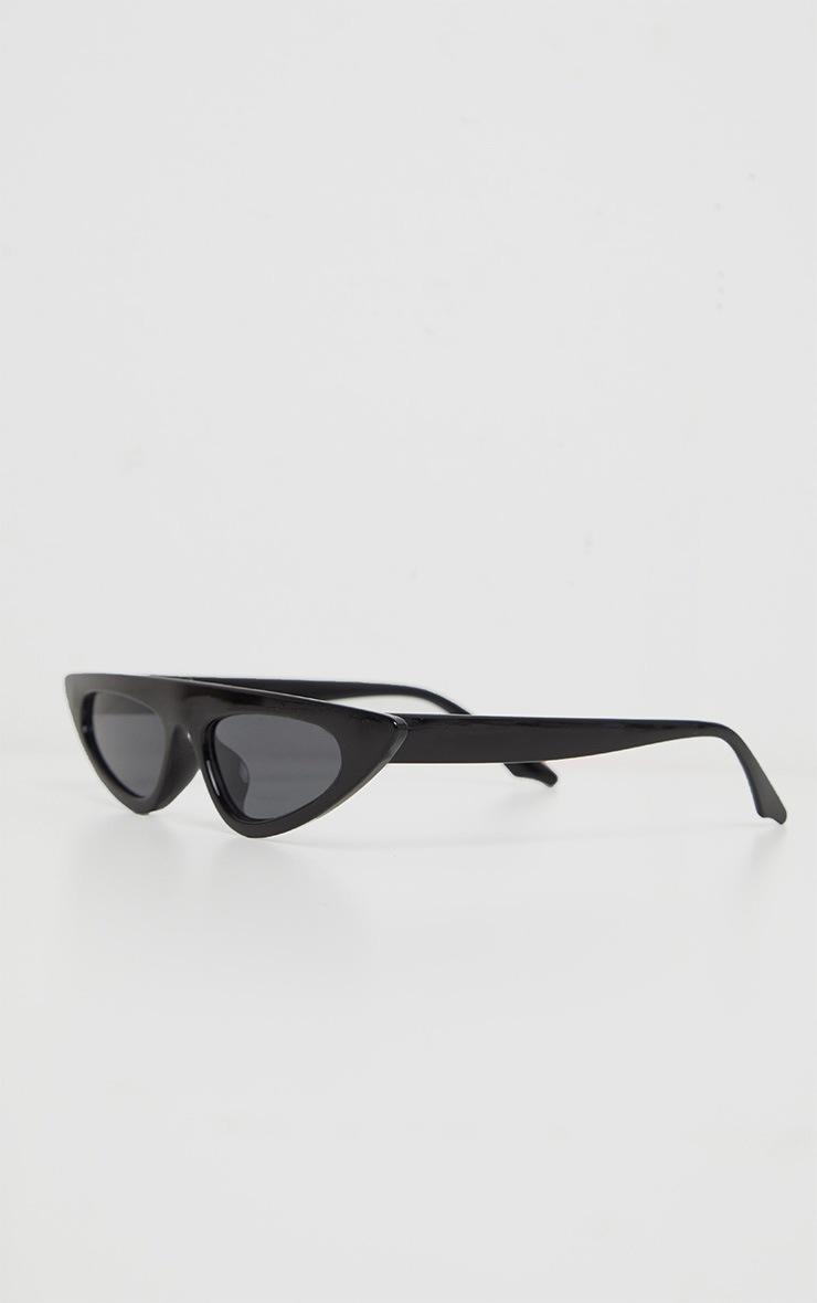 Black Flat Top Slim Cateye Sunglasses  2