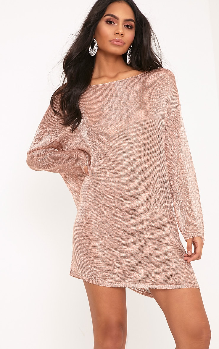 Judanna Rose Gold Scoop Back Sheer Knitted Mini Dress 2
