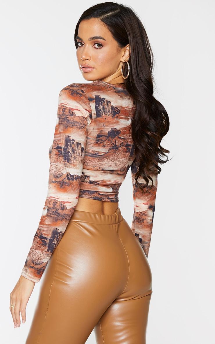 Brown Desert Print Jersey Tie Ruched Side Long Sleeve Crop Top 2