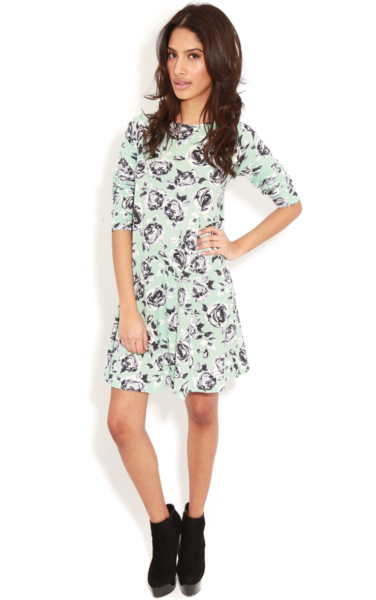 Macie Mint Floral Swing Dress  3