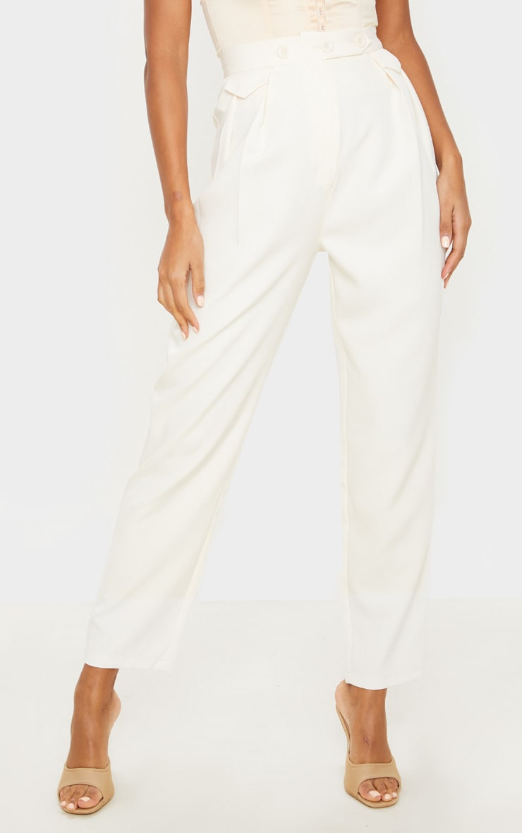 Cream Tapered Button Front Pants 2