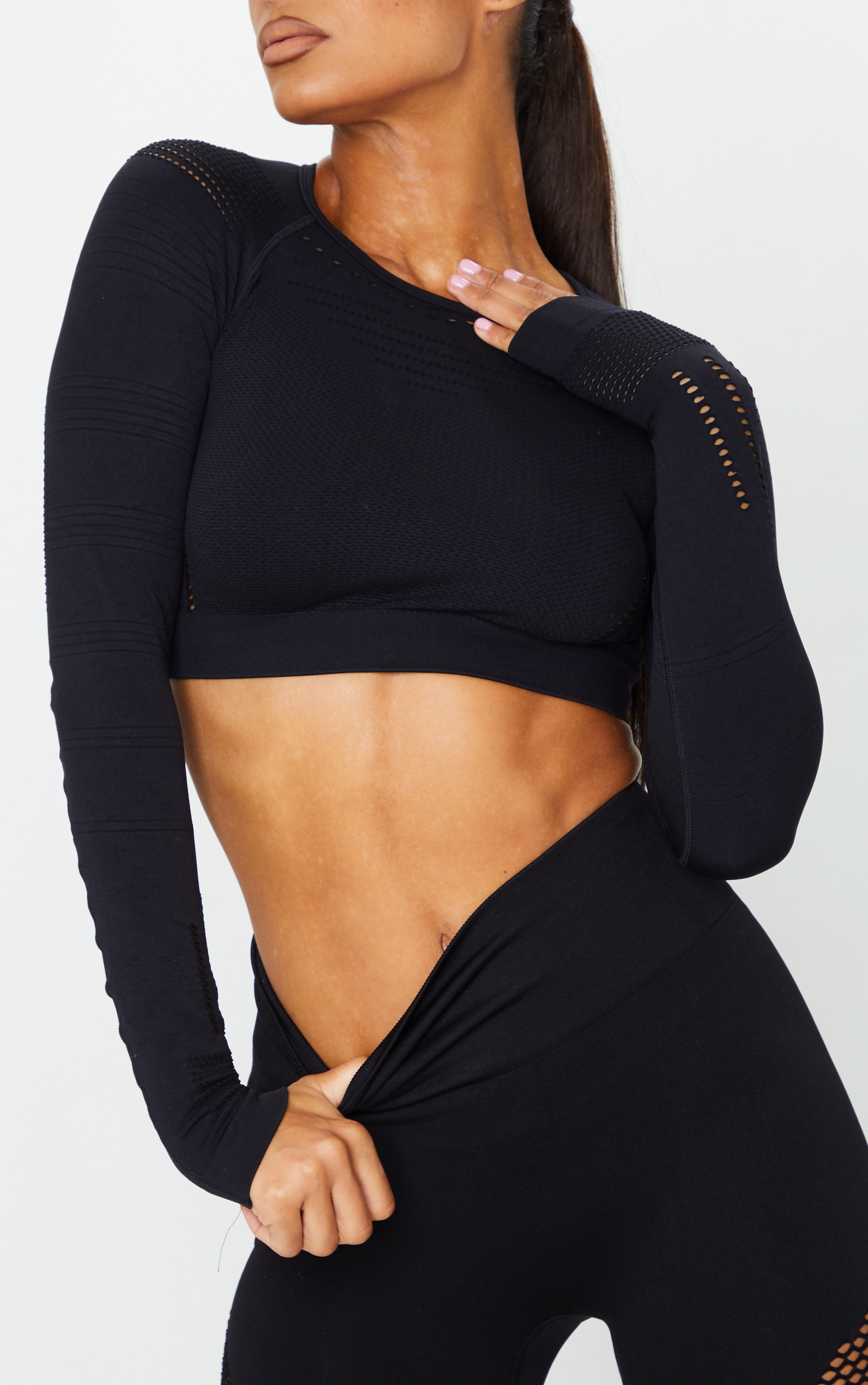 PRETTYLITTLETHING Black Long Sleeve Cut Out Seamless Top 3