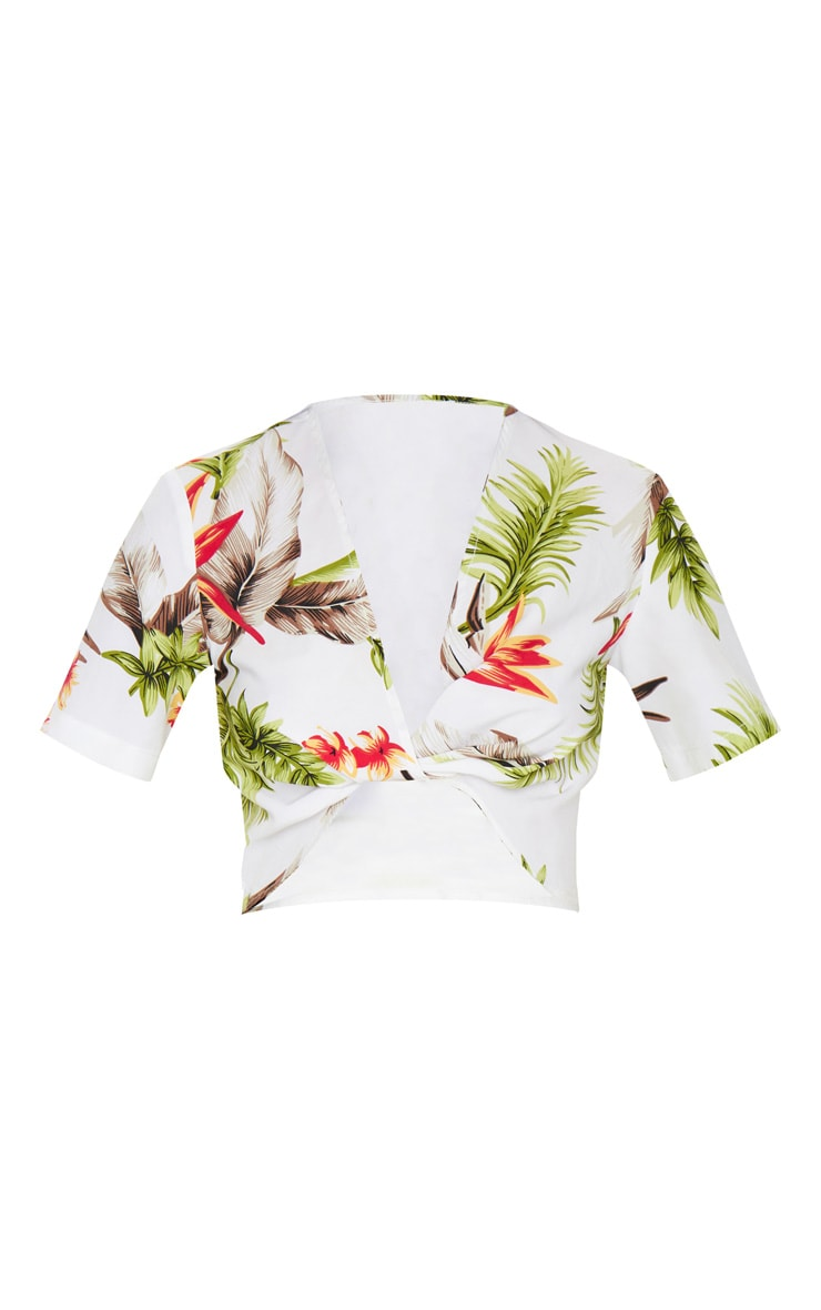 White Tropical Chiffon Twist Front Short Sleeve Top 5