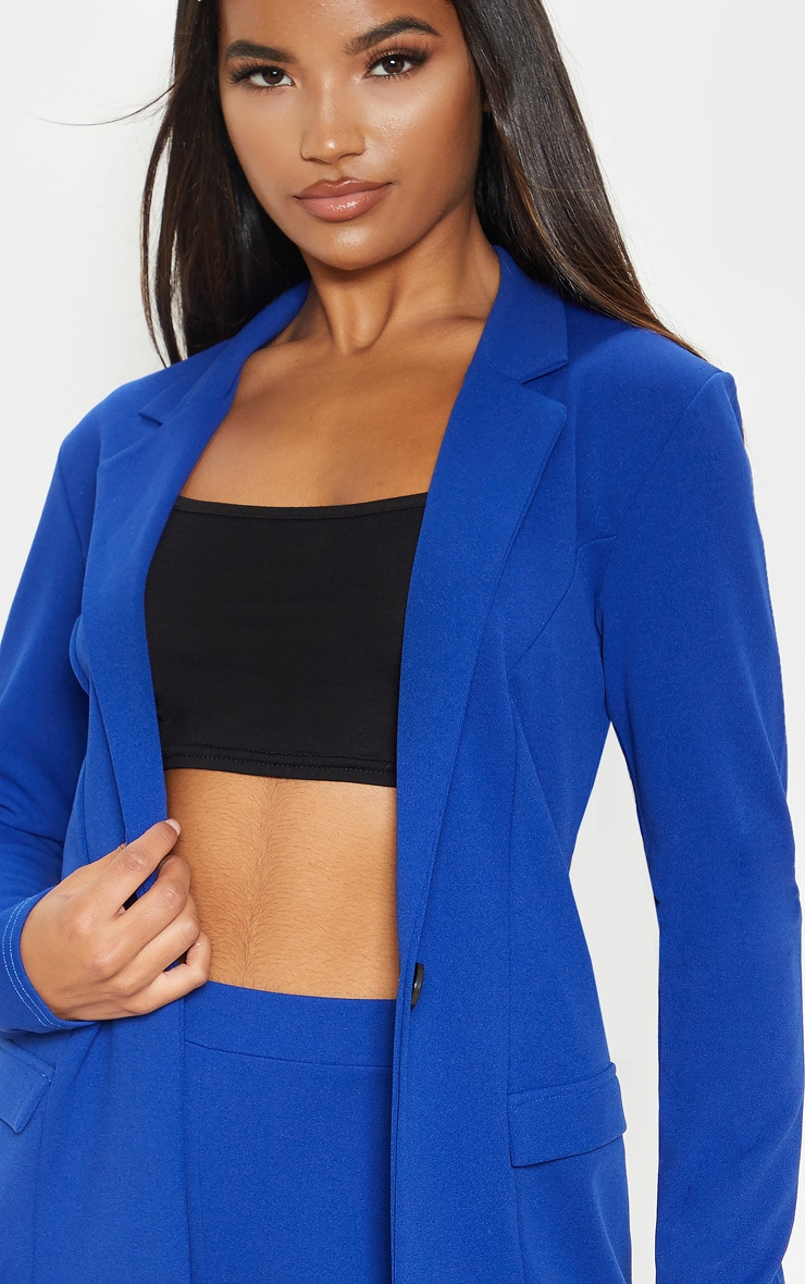 Blue Fitted Button Detail Crepe Blazer 5