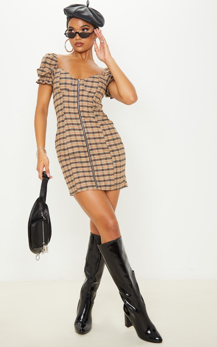 Beige Check Puff Sleeve Zip Front Shift Dress 4