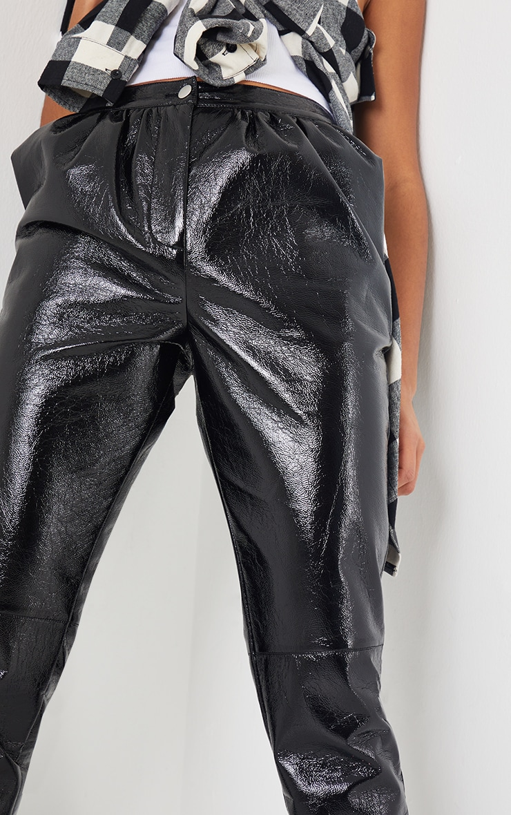 Black Cracked Vinyl Cigarette Pants 4