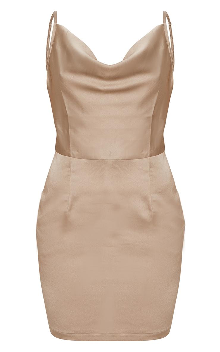 Gold Satin Cowl Neck Slip Dress 5