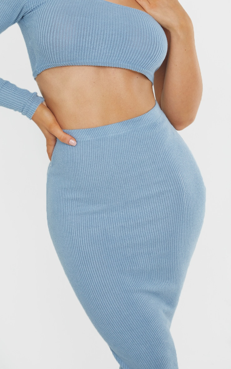 Steel Blue Brushed Rib Midaxi Skirt 4