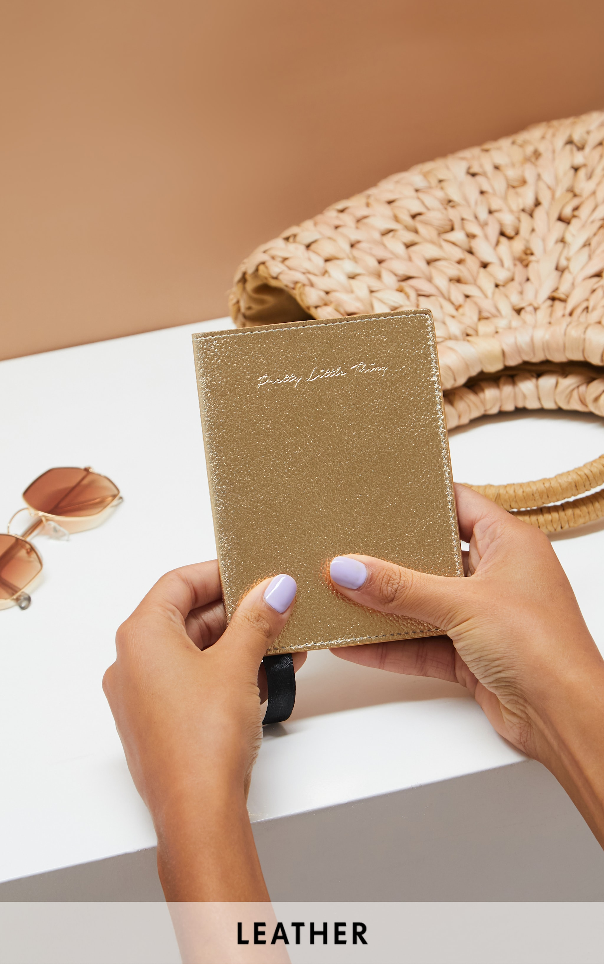 PRETTYLITTLETHING Gold Real Leather Croc Passport Holder 1