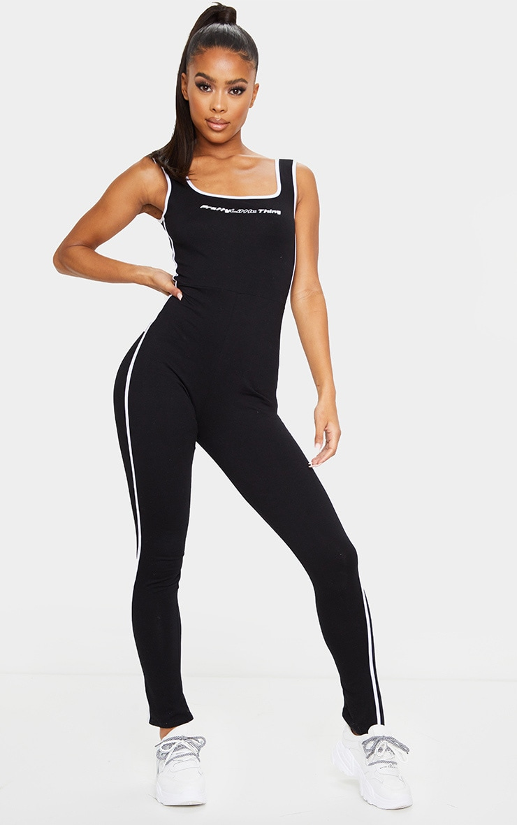 PRETTYLITTLETHING Black Square Neck Sports Stripe Jumpsuit 1