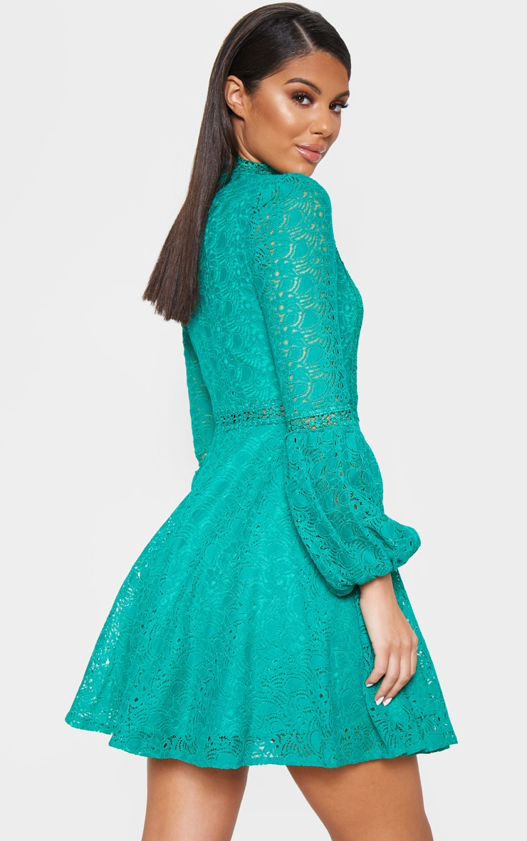 Green Lace Long Sleeve Skater Dress 2