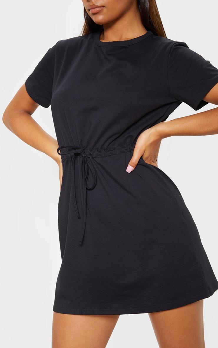 Black Drawstring Tie Waist T Shirt Dress 5