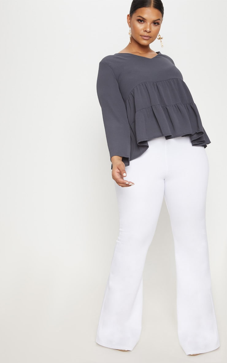 Plus Charcoal Plunge Tiered Shirt 4