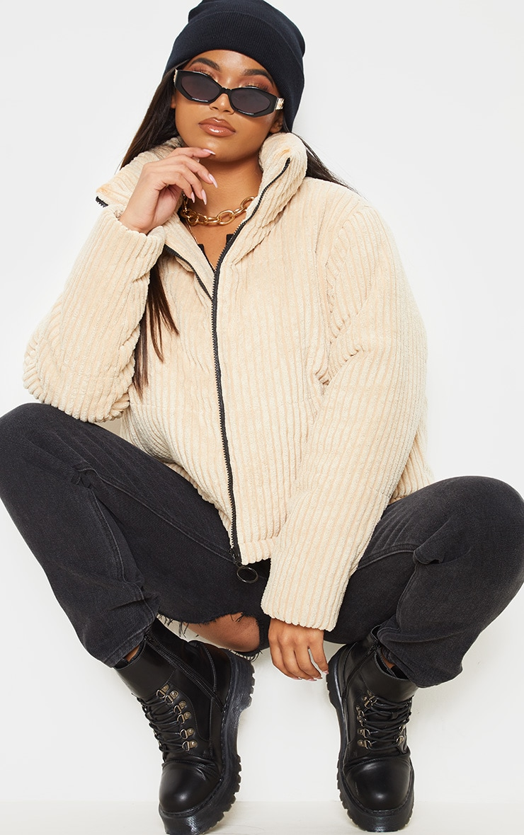 Stone Ribbed Textured Oversized Puffer 4