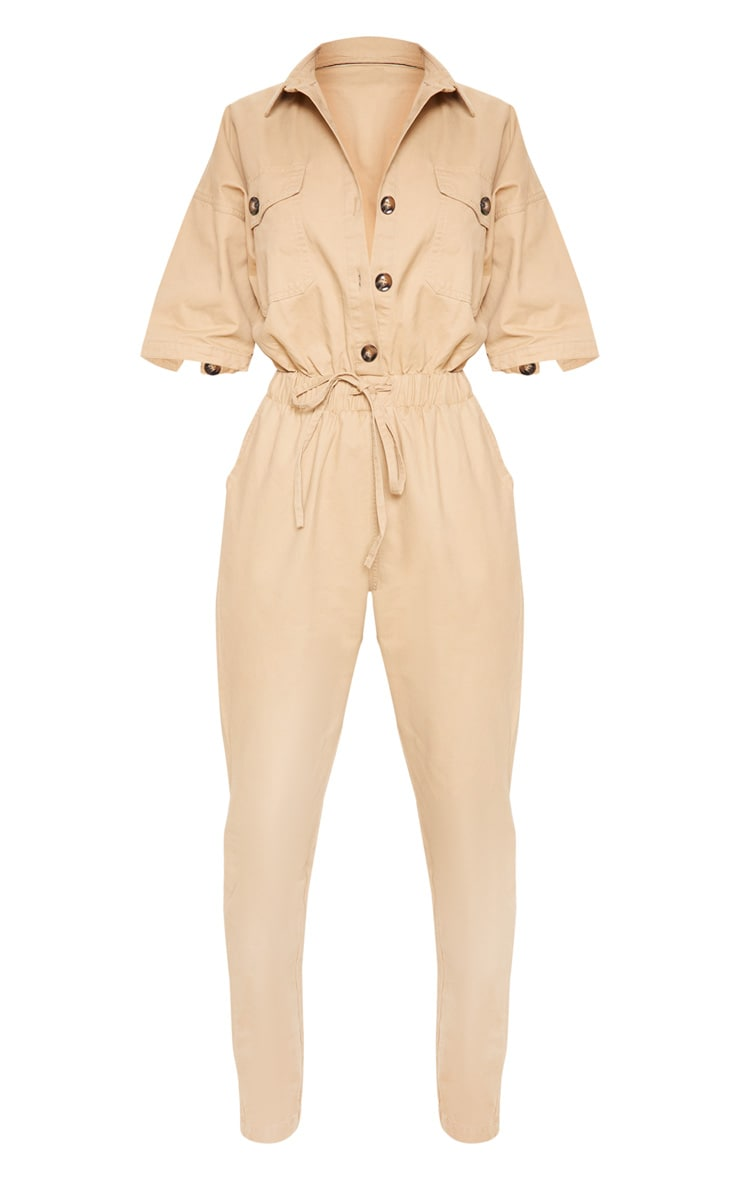 Sand Tortoise Button Chambray Jumpsuit 3