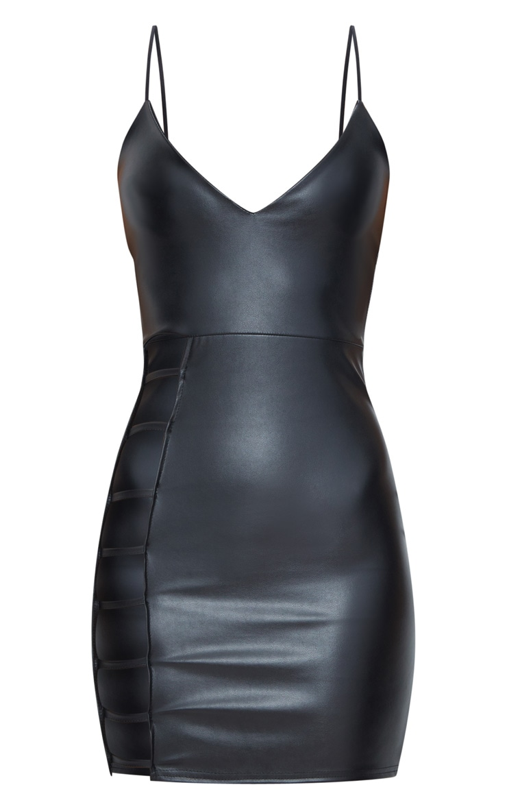Black PU Extreme Split Bodycon Dress 3