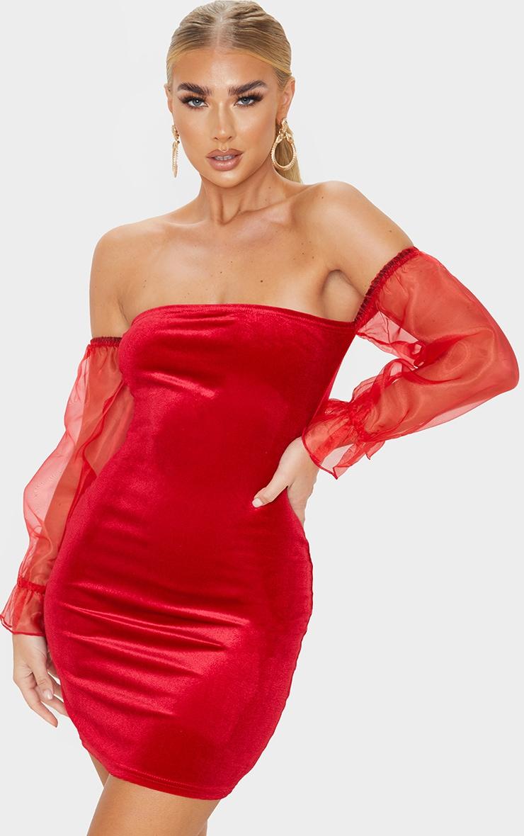 Red Organza Bardot Sleeve Velvet Bodycon Dress 1