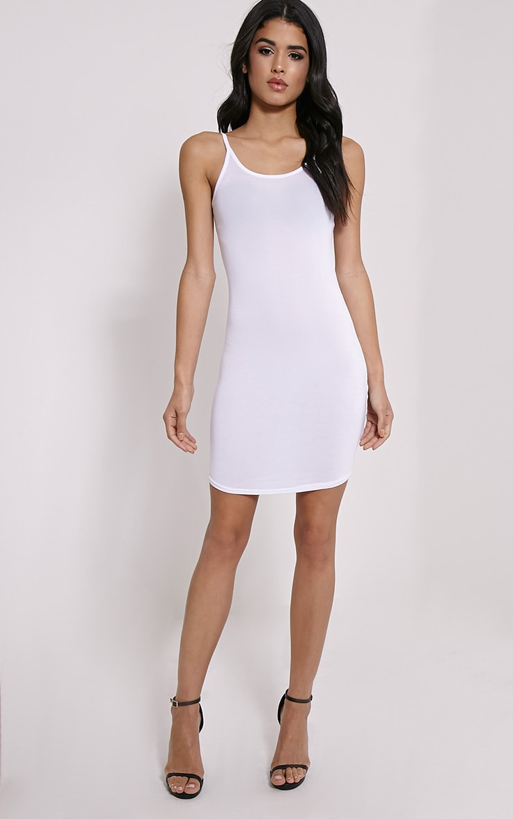 Basic White Jersey Strappy Mini Dress 3