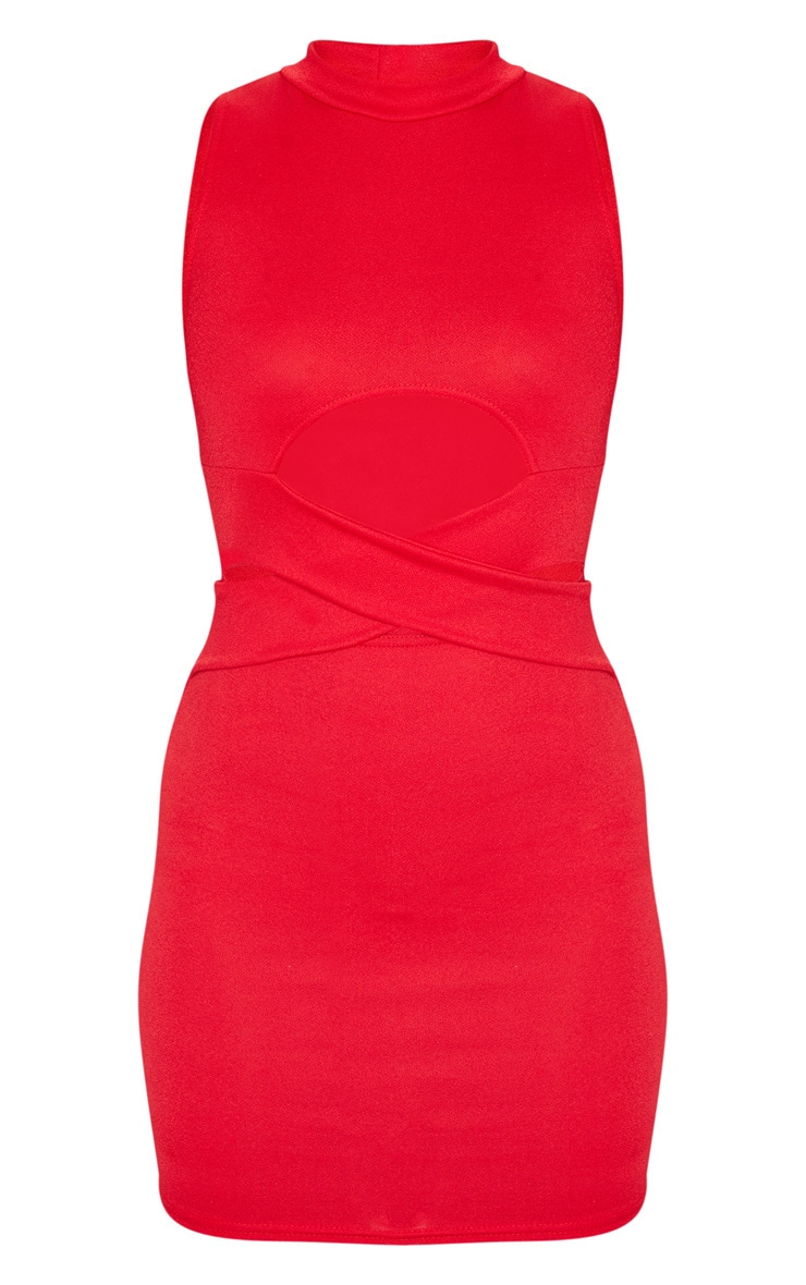 Red Cross Front High Neck Bodycon Dress 3