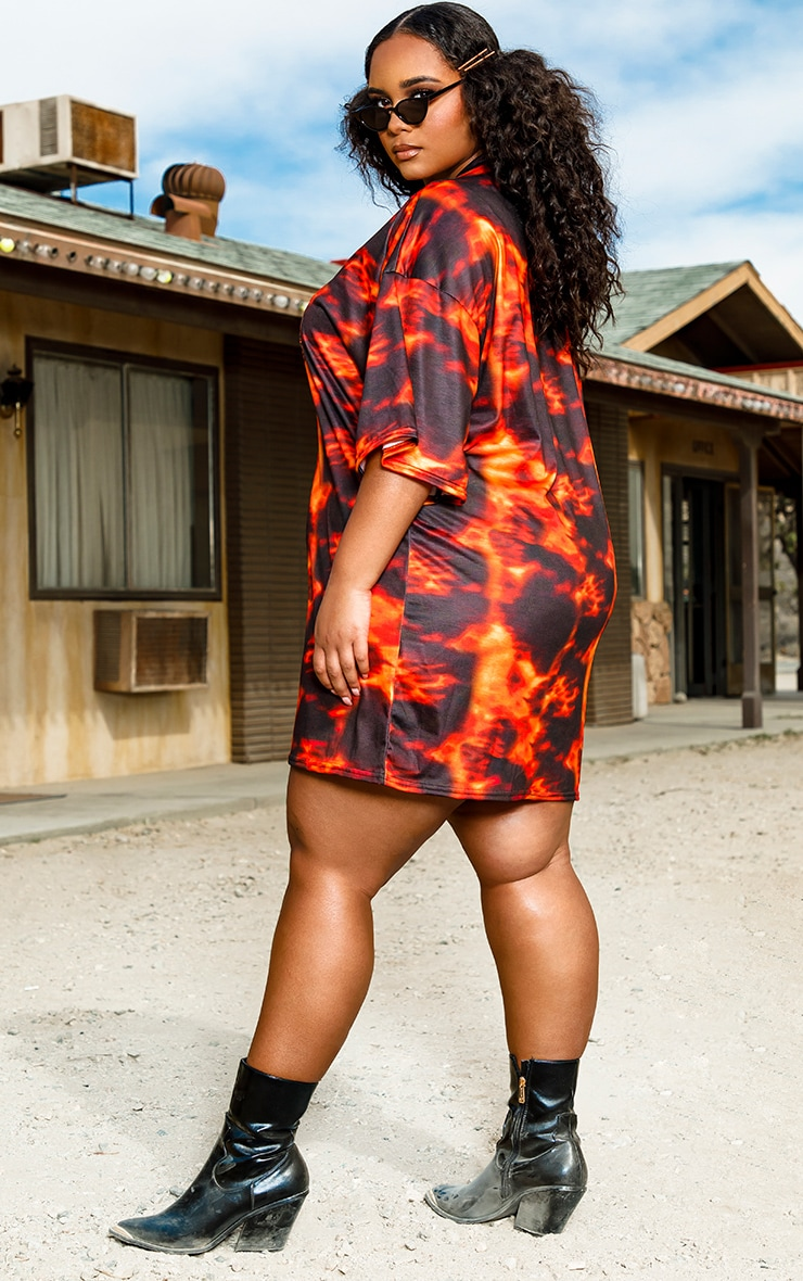Plus Orange Flame Print Oversized T-Shirt Dress 2