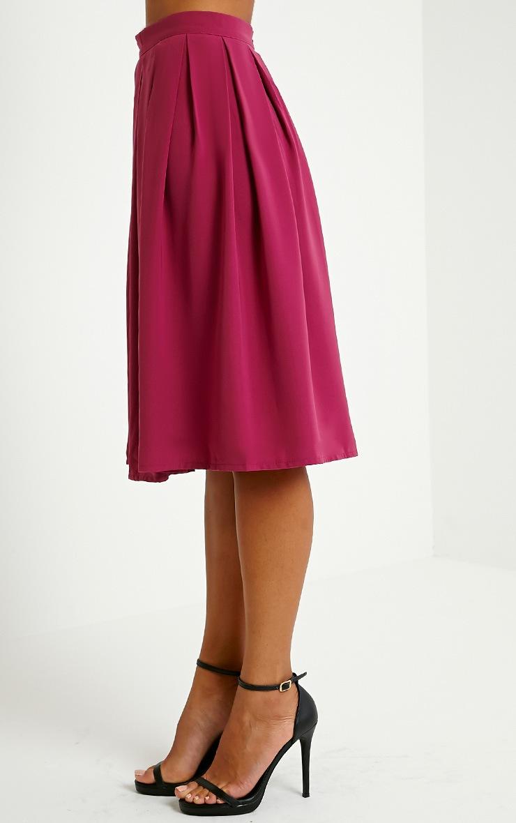 Merinda Berry Pleated Midi Skirt 3