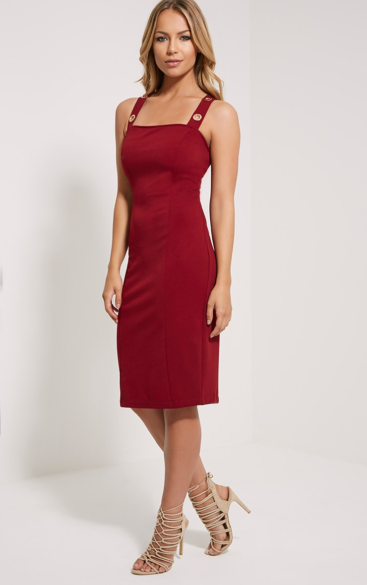 Dicie Wine Eyelet Midi Dress 4