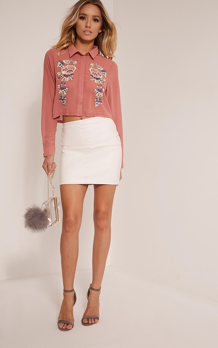 Esther Blush Embroidered Cropped Chiffon Shirt 1