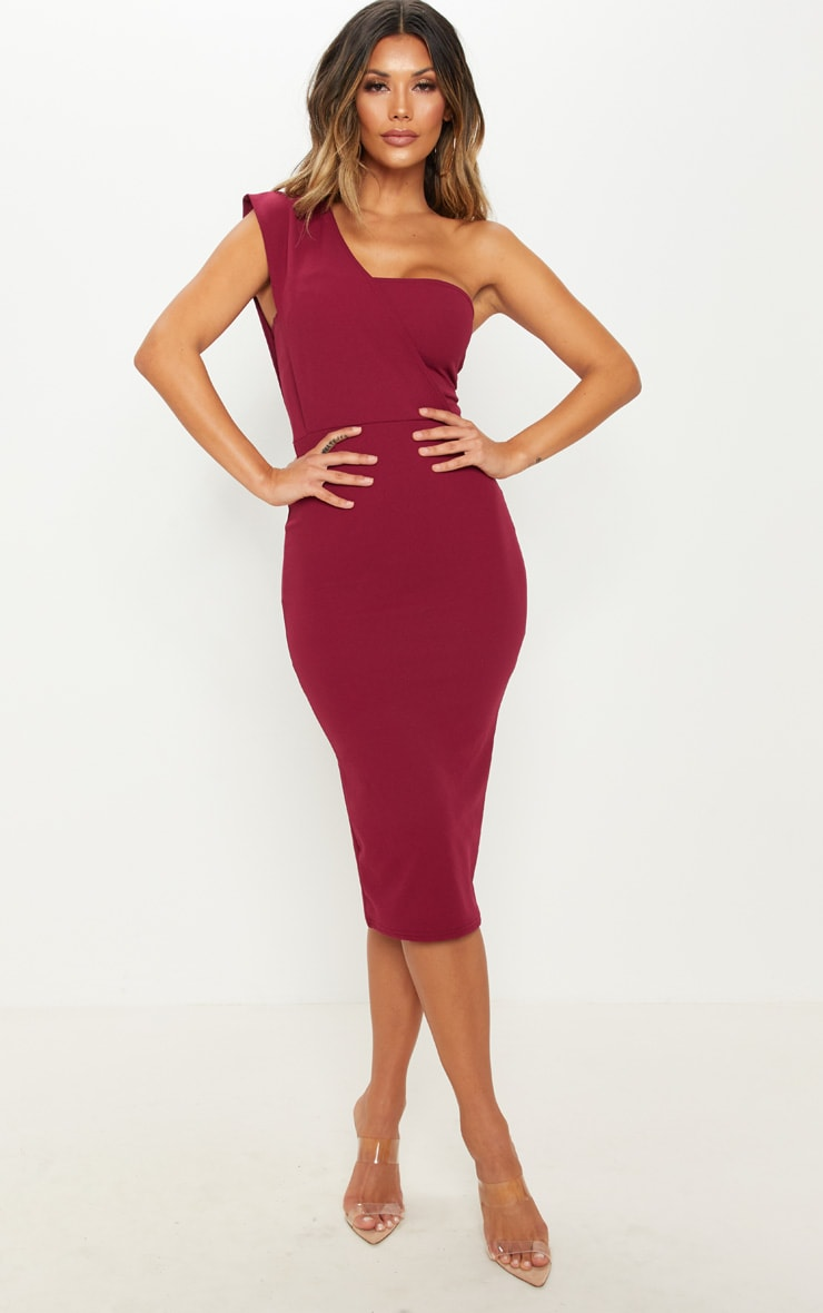 Burgundy One Shoulder Draped Midi Dress 1