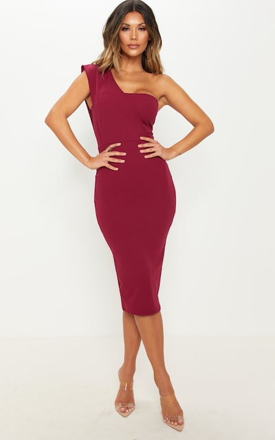 d32be6ee5106 Burgundy One Shoulder Draped Midi Dress