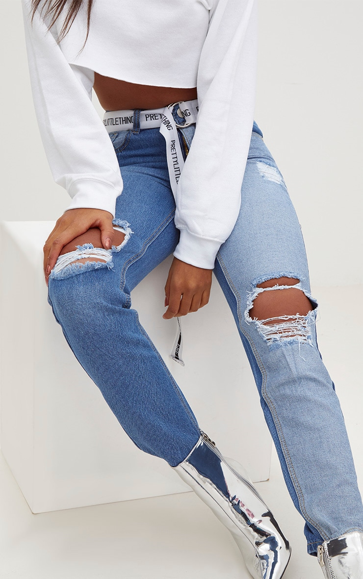 Mid Wash Contrast Panel Extreme Ripped Mom Jeans 5