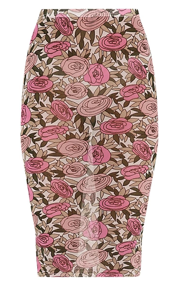 Denon Pink Floral Mesh Midi Skirt 3