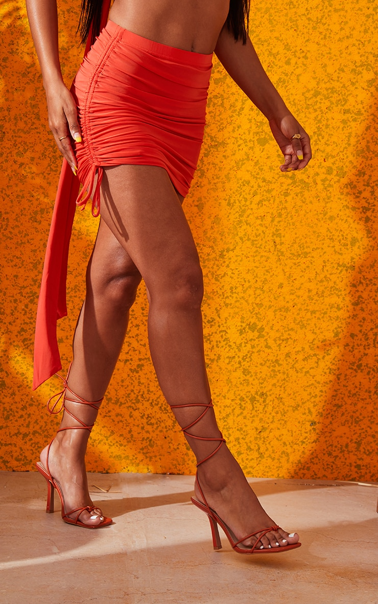 Orange Ruched Mini Skirt 3