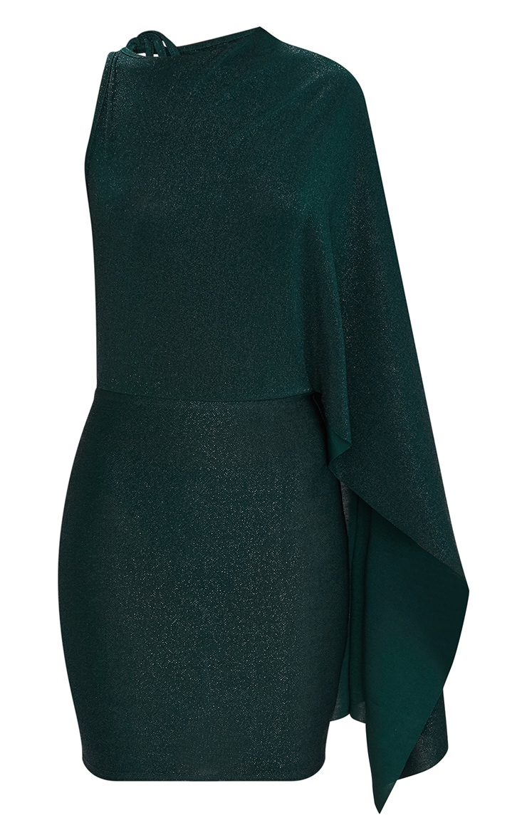 Green Glitter Cape Detail Bodycon Dress 3