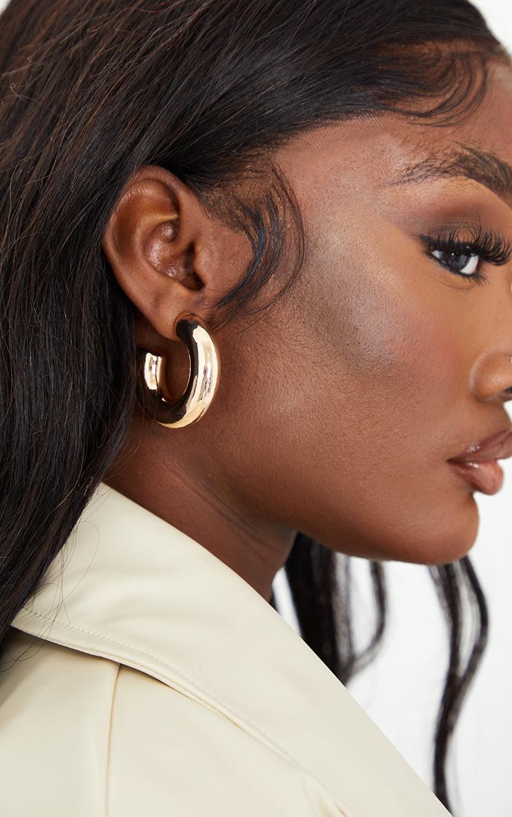Gold Mini Chunky Hoop Earrings 1
