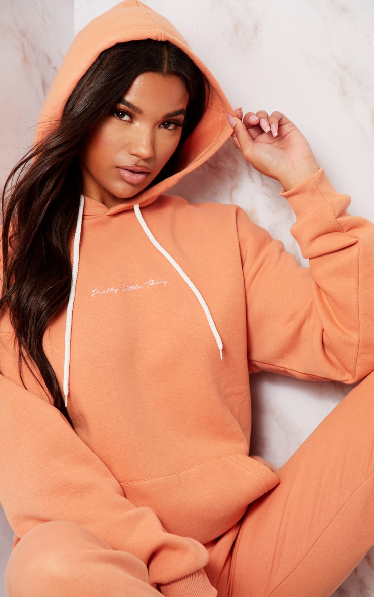 PRETTYLITTLETHING Chestnut Embroidered Oversized Hoodie 5