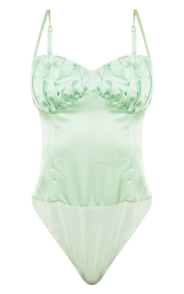 Tall Sage Green Satin Ruched Bust Bodysuit 5