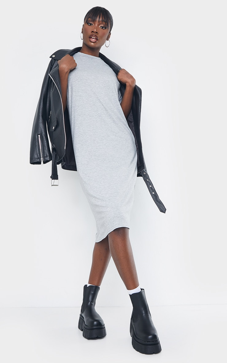 Tall Grey Marl Oversized Boxy Midi T Shirt Dress 3
