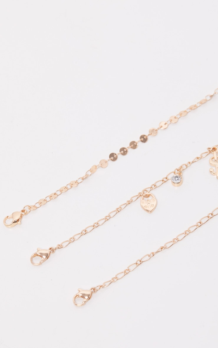 Gold Dollar And Disc Triple Layer Anklet 3