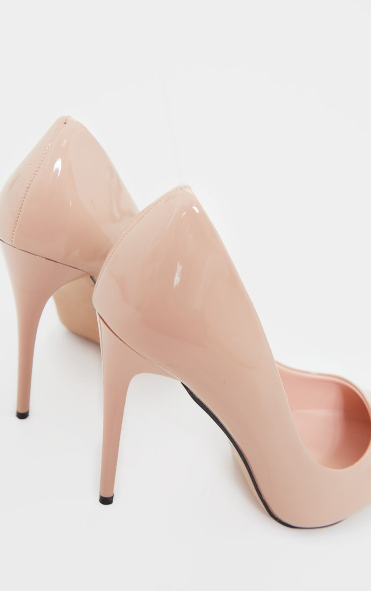Nude Patent PU High Court Heel Shoes 4