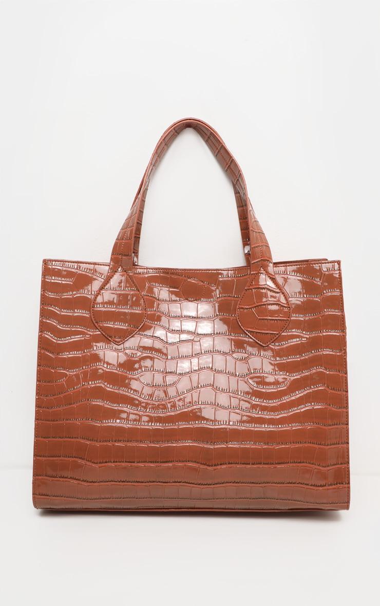 Tan Croc Large Tote Bag 2