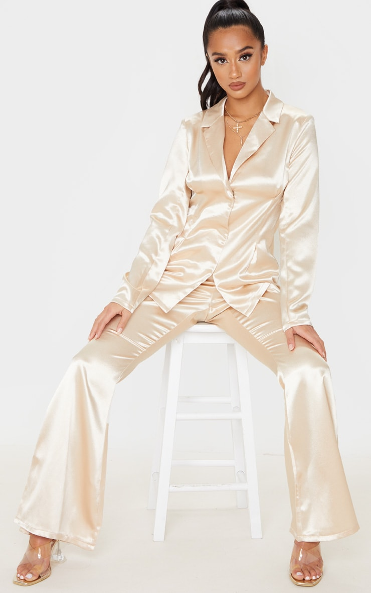 Petite Champagne Satin Fitted Blazer 4