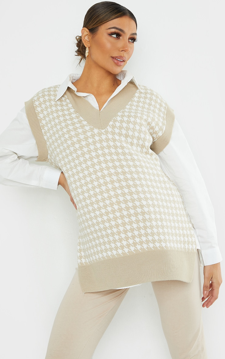 Maternity Stone Dogtooth V Neck Knitted Side Split Vest 1