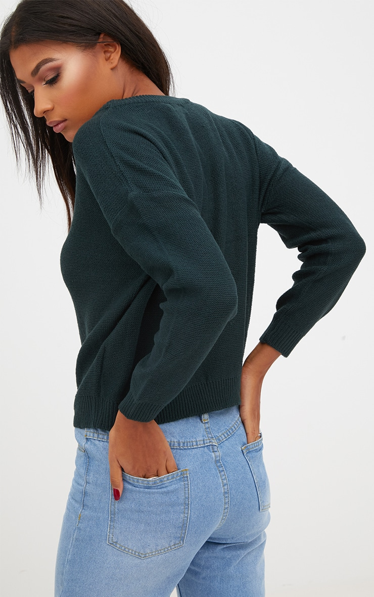 Forest Green Boxy Basic Jumper 2