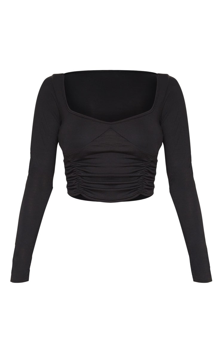 Black Jersey Ruched Front Long Sleeve Crop Top 3